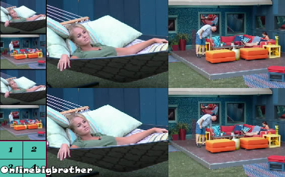 Big Brother Backyard Really Outside : Rachel reads the Bible, Kalia plans the next week plays, Porsche cooks
