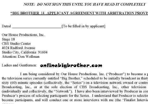 Big Brother  Legal Contract