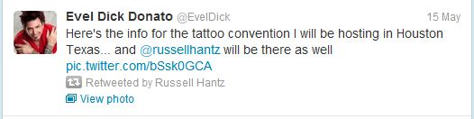 Evel Dick Tweet about tattoo convention